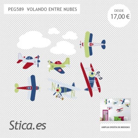 adhesivo decorativo aviones infantil