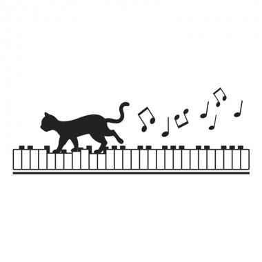 pegatina decorativa gato musical