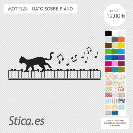 adhesivo decorativo gato musical