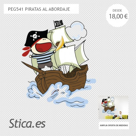 adhesivo decorativo pirata al abordaje