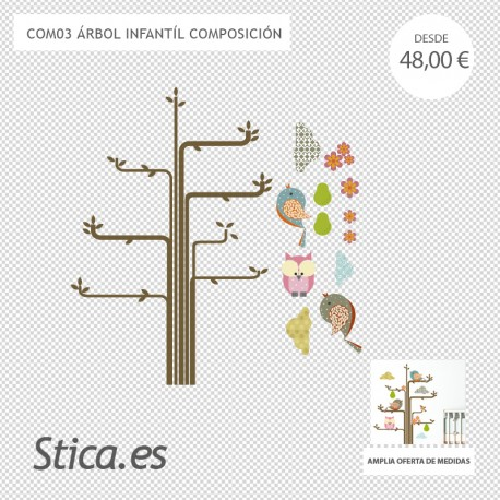 adhesivo decorativo árbol infantil composición