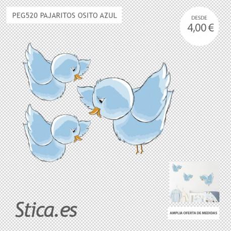 adhesivo decorativo de pájaros azules
