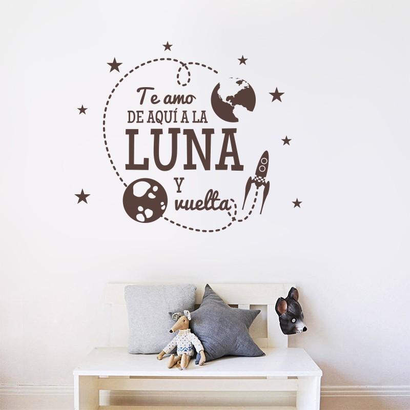 Vinilo frase de aqu a la luna y - Frases para vinilos habitacion ...