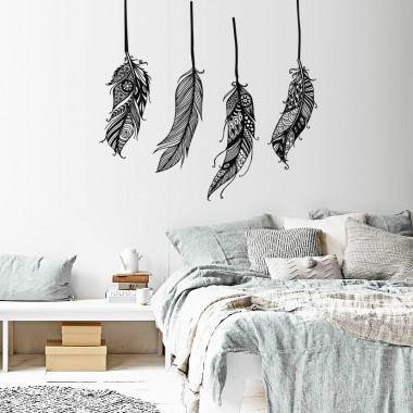 vinilo decorativo plumas en ambiente