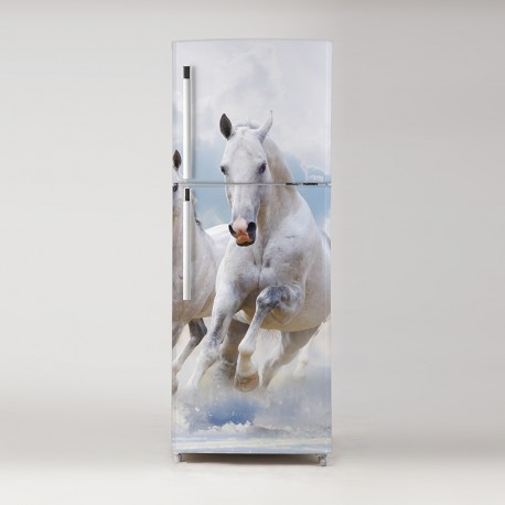 Pegatina frigo caballos