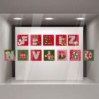 Vinilo Feliz Navidad Patchwork