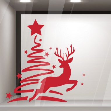 Escaparatismo navidad árbol reno