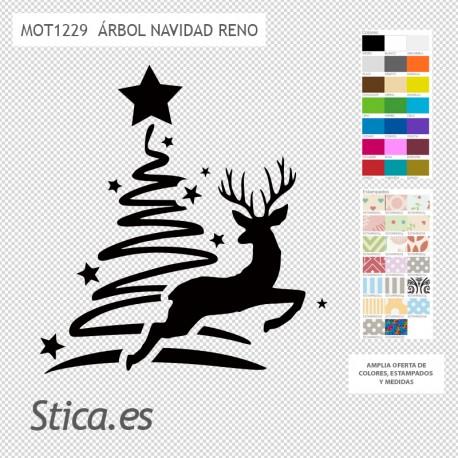 Pegatina decorativa árbol navidad con reno