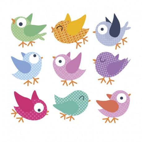 adhesivo infantil pájaros grupo