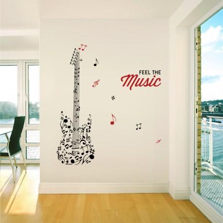 Vinilo notas guitarra en ambiente