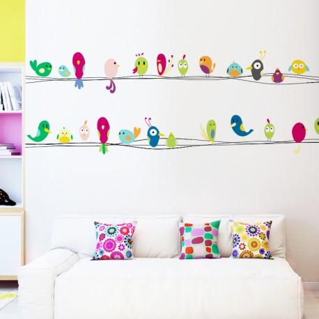 Pegatina decorativa infantil pájaros