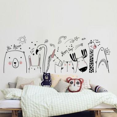 Adhesivo decorativo animales dibujo
