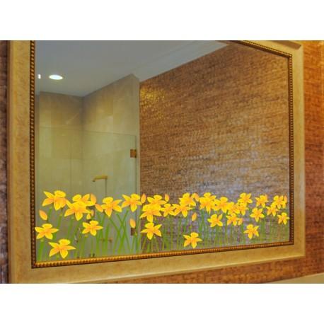 Vinilo Flores Amarillas Espejo imagen vinilo decorativo