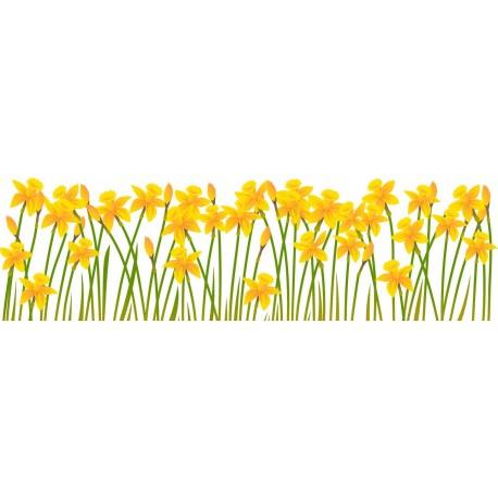 Vinilo Flores Amarillas Espejo adhesivo decorativo ambiente