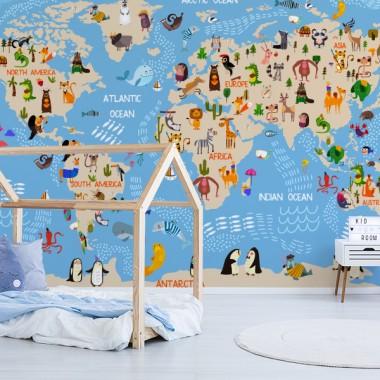 Fotomuralhabitación infantil Mapa Mundo