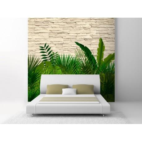 Fotomural dormitorio pared piedras plantas