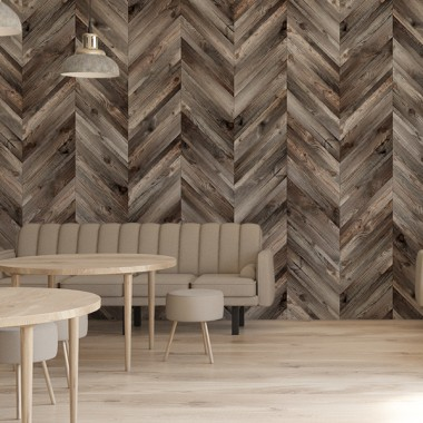 Fotomural dormitorio madera espiga