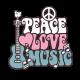 Vinilos decorativos: setentas peace love music 1