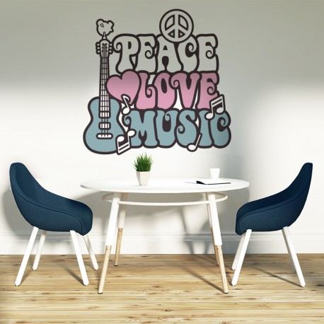 Vinilos decorativos: setentas peace love music