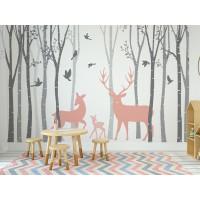 Fotomural bosque ciervos rosa