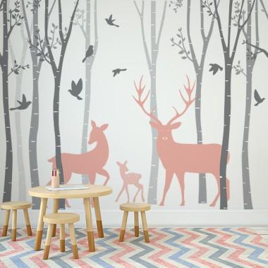 fotomural habitación infantil bosque ciervos rosa