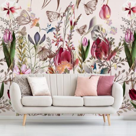 Fotomurales: floral holanda en salón
