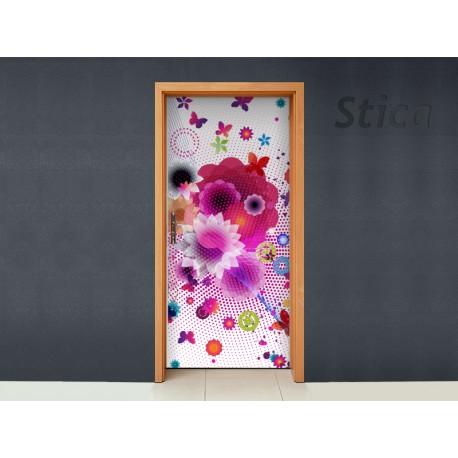 Vinilos decorativos: para puerta flores abstracto