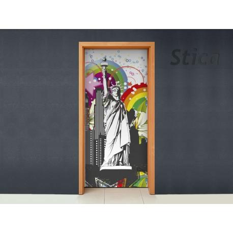 Vinilos decorativos: para puerta NY abstracto ambiente