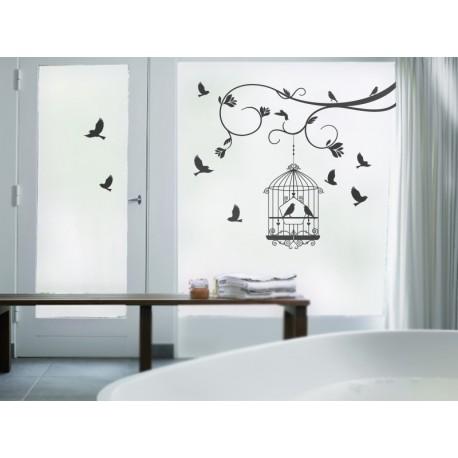 Vinilo translúcido: pájaros jaula ambiente dos
