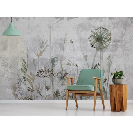 Fotomurales:cemento arte floral en recibidor
