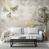 Fotomural cemento pulido mariposas