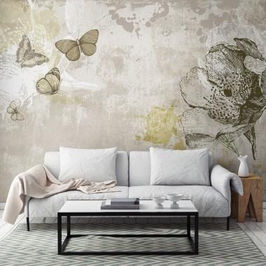 Fotomurales: cemento pulido mariposas ambiente