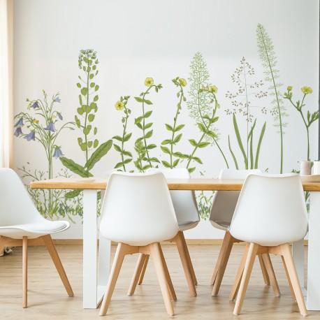 Vinilos transparentes flores silvestres ambiente