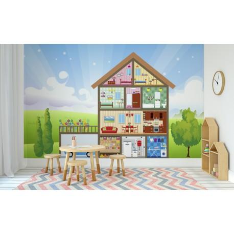 fotomural infantil casa en ambiente