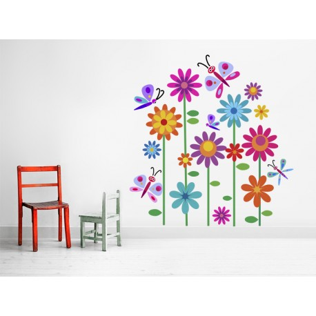 Vinilo flores mariposas ambiente