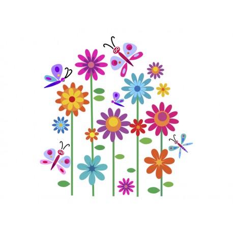 Vinilo flores y mariposas