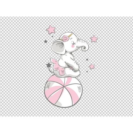 Vinilo infantil elefanta con pelota