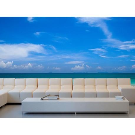 fotomural playa y barco en pared salón