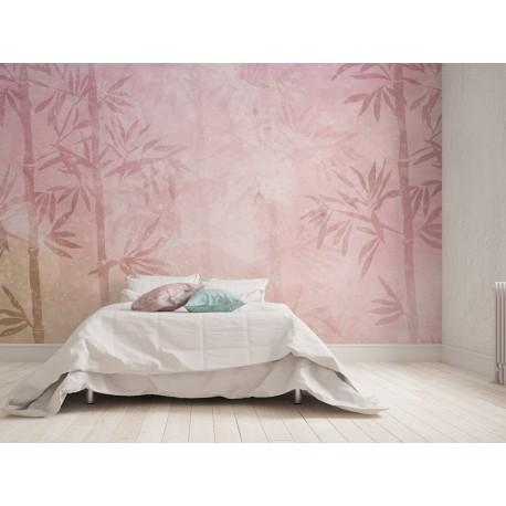 fotomural bambú acuarela en habitación