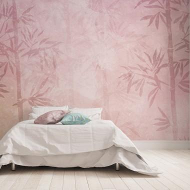 fotomural bambú acuarela en salón
