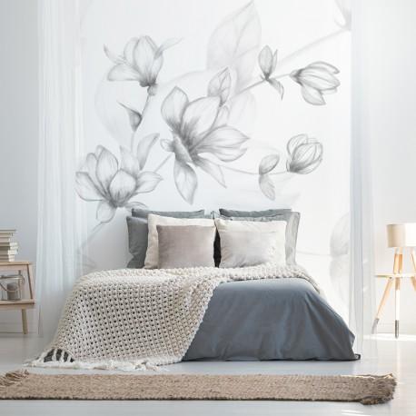 Fotomural floral blanco dormitorio