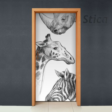Vinilo en puerta boceto animal