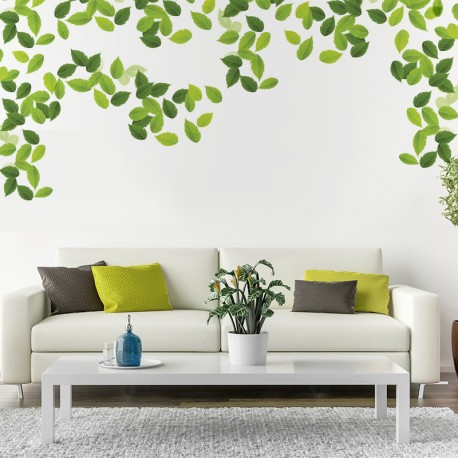 Vinilo decorativo naturaleza hojas verdes