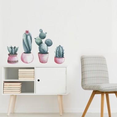 Vinilo cactus transparente en ambiente