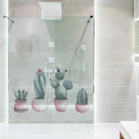 Vinilo cactus transparente en cristal