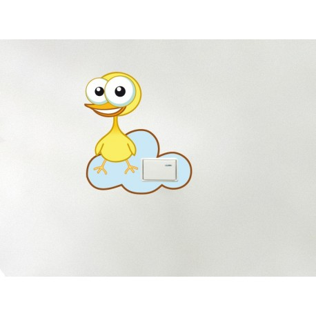 vinilo decorativo Pollito Amarillo en Nube