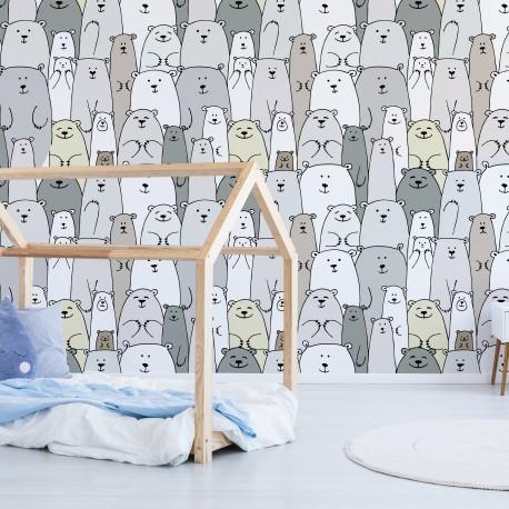 Mural habitación infantil osos cama montesori