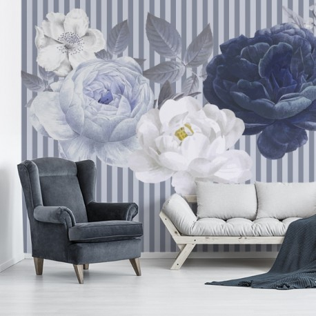 Papel pintado flores y rayas
