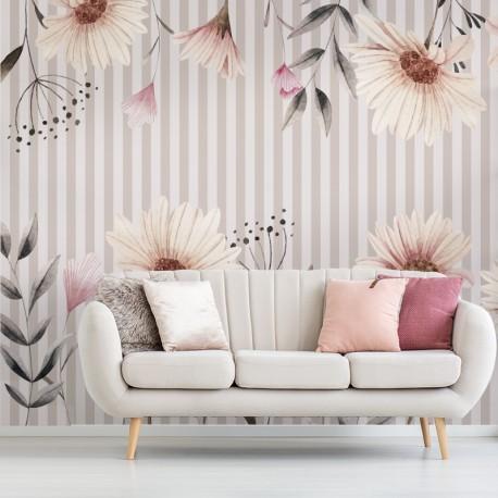 Fotomural floral verticalidad en salón