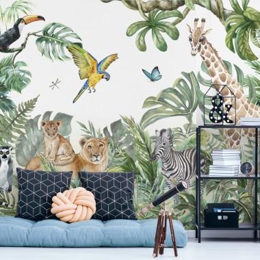 Fotomural infantil animales jungla